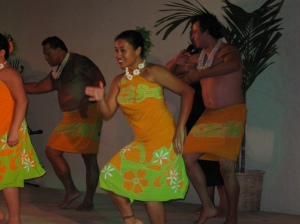 "One of the many dances the group of eight entertainers, plus the MC, put on for us. Each dance ""represented"" a different Polynesian island."