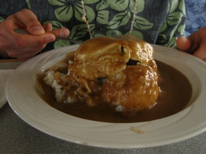 Loco Moco - the island comfort food = ground beef, eggs topped with brown gravy. Wasn't as gross as it sounds but not the first thing I'd order when seeking masses of food to make me feel warm inside.
